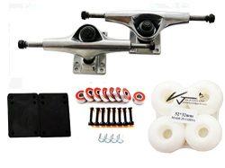 VJ Skateboard Accessory Combo 5″ Skateboard Trucks Aluminum ( Silver ) 52mm Skatebaord Whe ...