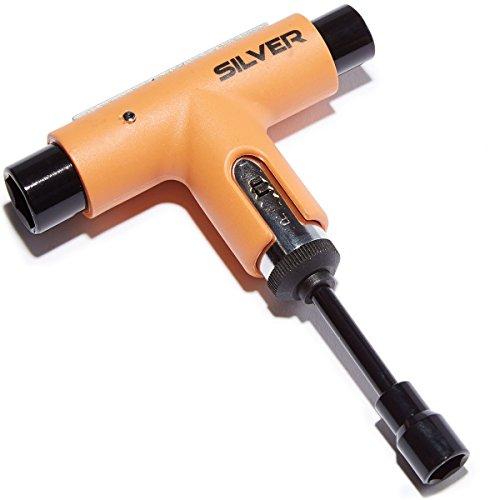 Silver Premium All-In-One Multi Function Ratchet Skate Tool (Neon Orange)