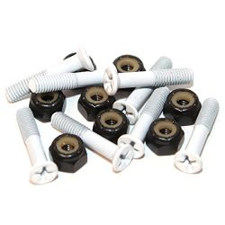 Standard White Skateboard Hardware Set – 1″