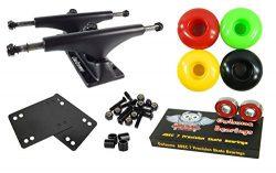 Owlsome 5.0 Black Aluminum Skateboard Trucks w/ 52mm Wheels Combo Set (Rasta)