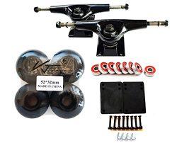 VJ Skateboard Accessory Combo 5″ Skateboard Trucks Aluminum (Black) 52mm Skatebaord Wheels ...