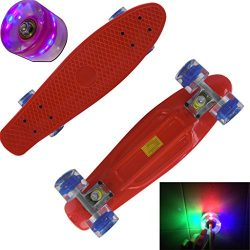 Rimable Complete 22″ Skateboard with Flashing Wheels£¨RED BOARD& BLUE WHEELS CORE WITH ...