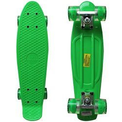 Rimable Complete 22″ Skateboard with Flashing Wheels(GREEN BOARD&GREEN WHEELS CORE WIT ...
