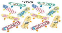 Finger Skateboards – Pack Of 12 -3.75 Inches Assorted Cool Colors And Designs – Fun  ...