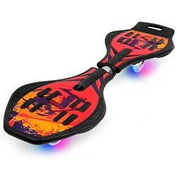Enkeeo Caster Board with Hand Grip , Illuminating PU Casters and Carrying Pouch, Weight Capacity ...