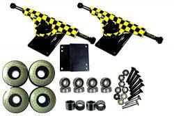esKape 5″ Truck/52mm Wheels Complete Skateboard Parts Set (Yellow Checker, 52mm)