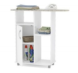 Boahaus Ironing Cart, White, 4 casters wheels, 1 closed compartment