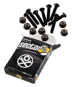 Sector 9 Black Longboard Skateboard Hardware Set – 1 1/2 8pcs