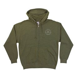 Independent Skateboard Rails Zip Hoody Army Size Large