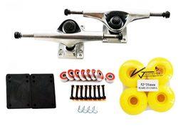 VJ VJ Skateboard Accessory Combo 5″ Skateboard Trucks Aluminum ( Silver ) 52mm Skatebaord  ...