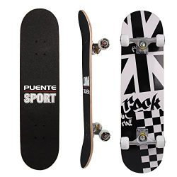 PUENTE 31 Inch Complete Skateboard – 8 Layer Canadian Maple Wood Double Kick Concave Skate ...
