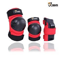 JBM international Adult / Child Knee Pads Elbow Pads Wrist Guards 3 In 1 Protective Gear Set, Re ...
