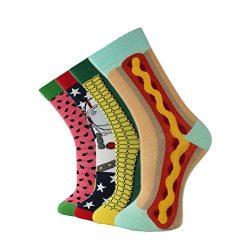 Mens Colorful Dress Socks Fashionable novelty Fun Crew Socks skateboard long socks 4 packs (free ...