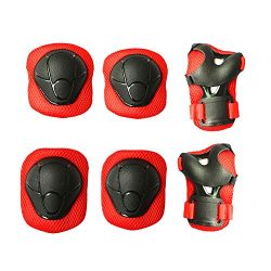 Kids Protective Pads MAXZOLA Knee Pads Elbow Pads Wrist Guards 3 In 1 Protective Gear Set (Red)