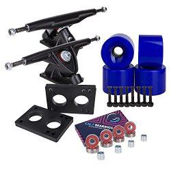 Longboard 180mm Trucks + 70mm Wheels + Bearings Combo SET (Solid / Blue / Black)