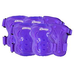 Crazy Skates ProteXion Purple Kids Youth Juvenile Rollerblade Roller Skates Cycling Knee Elbow W ...