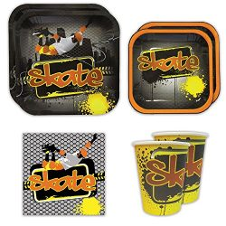 Skate Standard Party Packs (65+ Pieces for 16 Guests!), Skateboarding Party Supplies, Skate Birt ...