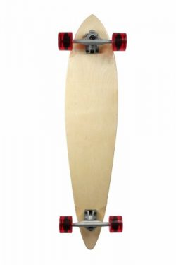 SCSK8 Natural Blank & Stained Complete Longboard Pintail Skateboard (Natural, 44″ x 10 ...