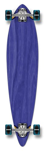 Yocaher Punked Stained Pintail Complete Longboard Skateboard, 40 x 9-Inch, Blue