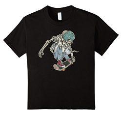Kids Skeleton on Skateboard with Hat Skateboarding T-Shirt 8 Black