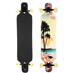 Kaluo 41 Inch Speed Downhill Drop Through Complete Longboard Skateboard 9 Layer Maple Wood Cruis ...