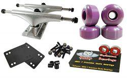 Owlsome 5.0 Polished Aluminum Skateboard Trucks w/ 52mm Wheels Combo Set (Purple)