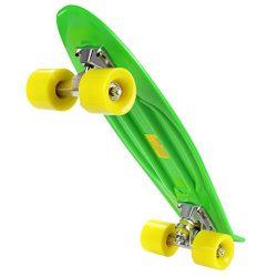 Lantusi 22″ Cruiser Plastic Skateboard Banana Board with Bendable Deck and Smooth PU Caste ...