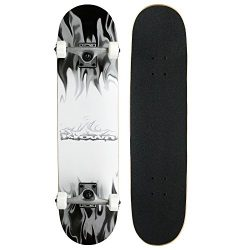 Krown Rookie Complete Skateboard,Grey/White Flame