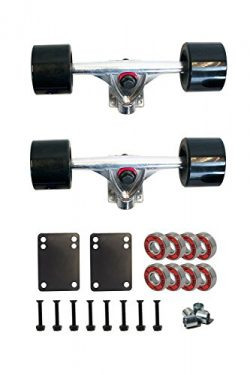 SCSK8 LONGBOARD Skateboard TRUCKS COMBO set w/ 70mm WHEELS + 9.75″ Truck Package (Black)