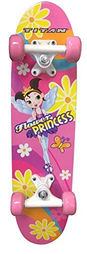 TITAN Flower Princess Pink Girls Skateboard, Single Kick-board, 24″ Maple Skate Deck