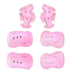 Kids Protective Gear Set Pink Knee Pads Elbow Pads Wrist Guards For Skateboarding Roller Skates  ...