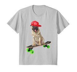 Kids Cute Funny Pug Dog Skateboarding Skater Trucks Shirt Gifts 6 Silver