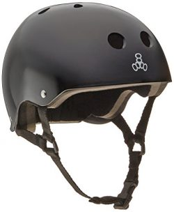 Triple 8 Brainsaver Glossy Helmet with Standard Liner (Black Gloss, Medium)
