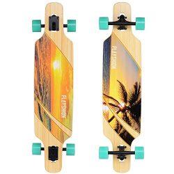 Playshion Bamboo Longboard Skateboard Complete (sunshine)