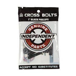 Independent Genuine Parts Cross Bolts Standard Phillips Skateboard Hardware (Black/Black, 1″)