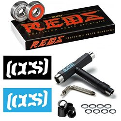 Bones Reds Skateboard/Longboard Bearings (8 packs W/Extras) (Reds W/CCS Skateboard Tool, Spacers ...