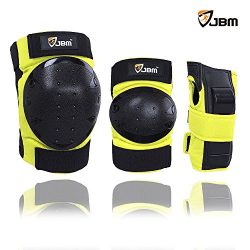 JBM international Adult / Child Knee Pads Elbow Pads Wrist Guards 3 In 1 Protective Gear Set, Ye ...