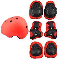 7Pcs Kids Sports Safety Protective Gear Set, RuiyiF Elbow Pad Knee Support Wrist Guard and Helme ...