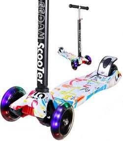 Scooter for Kids – EEDan 3 Wheel T-bar Adjustable Height handle Kick Scooters with Max Gli ...