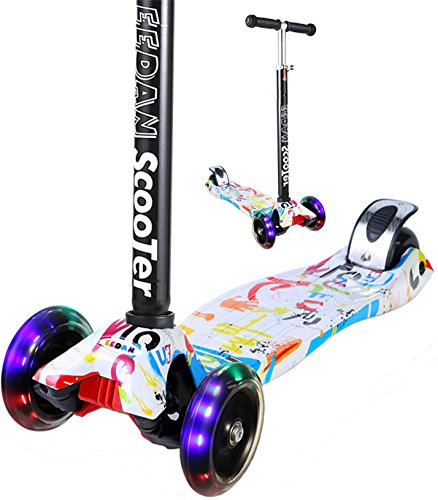 Scooter for Kids - EEDan 3 Wheel T-bar Adjustable Height ...