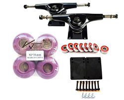VJ Skateshop Combo 5″ Skateboard Trucks Aluminum (Black) 52mm Skatebaord Wheels Abec 7 Bea ...