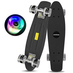 Letsfunny Skateboard 22 Inch with Colorful Light Up Wheels Banana Board Complete Skateboard for  ...