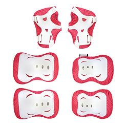 Kids Protective Gear Set Red Knee Pads Elbow Pads Wrist Guards For Skateboarding Roller Skates C ...