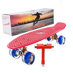 Landwalker 22″ Compelete banana cruiser galaxy skateboard boys girls kids board (Red Deck)