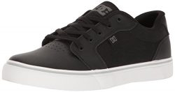 DC Men's Anvil SE Skateboarding Shoe, Black/White/Silver, 10.5 D US