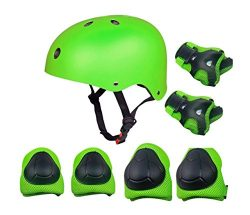 Kids Outdoor Sport Protective Gear Set with Helmet Knee Elbow Wrist Pads Adjustable Safety for C ...