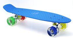 Merkapa 22″ Complete Skateboard with Colorful LED Light Up Wheels for Kids, Boys, Girls, Y ...