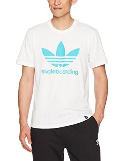 adidas Originals Men's Tops Skateboarding Clima Tee, White/Energy Blue, X-Small