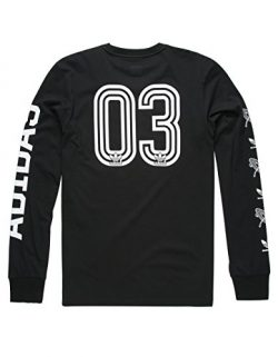 adidas Originals Men's Tops Skateboarding Long Sleeve Tee, Black/White/Saturday School, Small