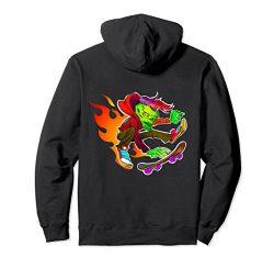 Unisex Skateboarder on Fire, Skateboarding Hoodie XL: Black